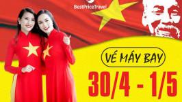 Giá vé máy bay dịp 30/4 - 1/5 giá rẻ năm 2019