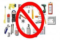Các vật dụng không được mang theo đối với hành lý xách tay?