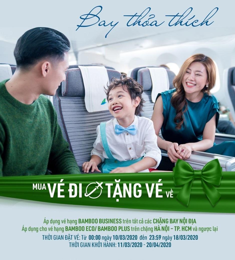Bamboo Airways mua vé chiều đi tặng miễn phí vé chiều về