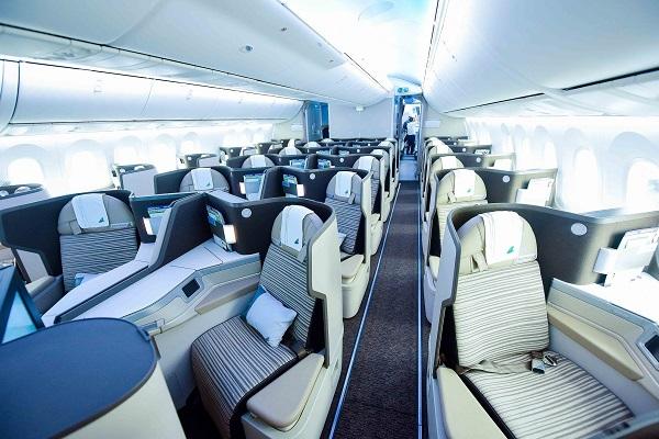 Nội thất hạng thương gia máy bay Boeing 787-9 Dreamliner của Bamboo Airways