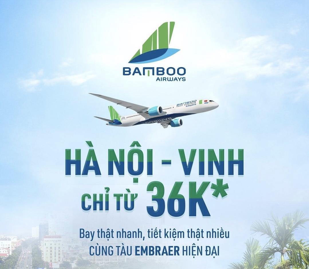 Hà Nội - Vinh Bamboo Airways chỉ từ 36k