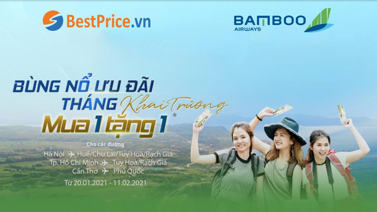 Bamboo Airways: MUA 1 TẶNG 1 mừng khai trương các đường bay mới
