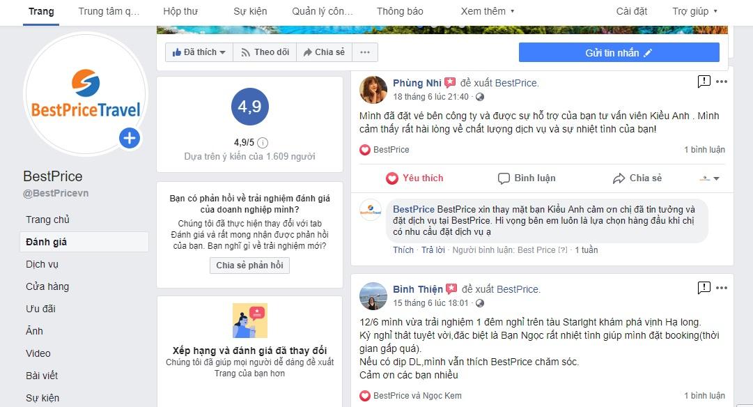 Đánh giá của khách hàng về BestPrice trên Facebook