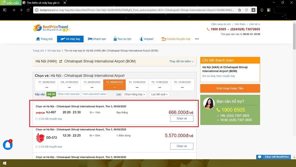 Đặt vé máy bay Hà Nội (Việt Nam) đi Mumbai (Ấn Độ)