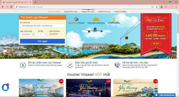 Trang tìm kiếm voucher Vinpearl trên website bestprice.vn