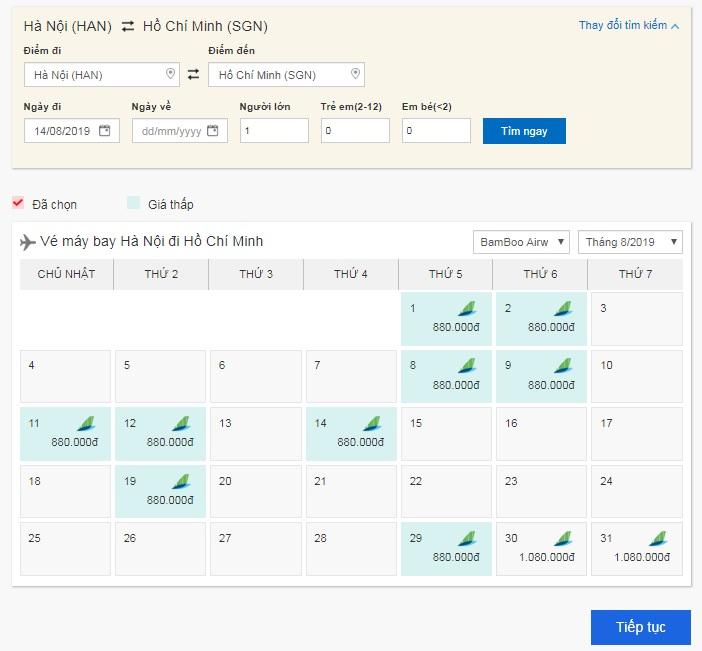 Công cụ săn vé máy bay giá rẻ Bamboo Airways của BestPrice