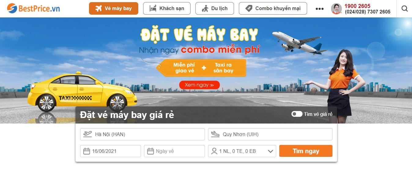 Giao diện đặt vé máy bay của BestPrice.vn