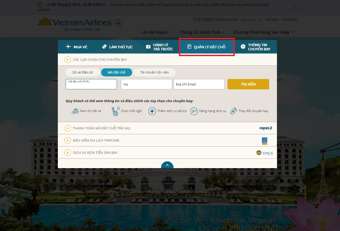 Cách kiểm tra code (mã) vé máy bay của Vietnam Airlines