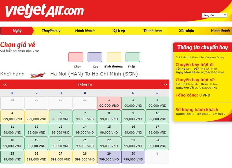 Check vé giá rẻ Vietjet