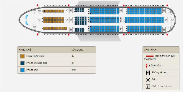 Mô hình chỗ ngồi trên máy bay Vietnam Airlines