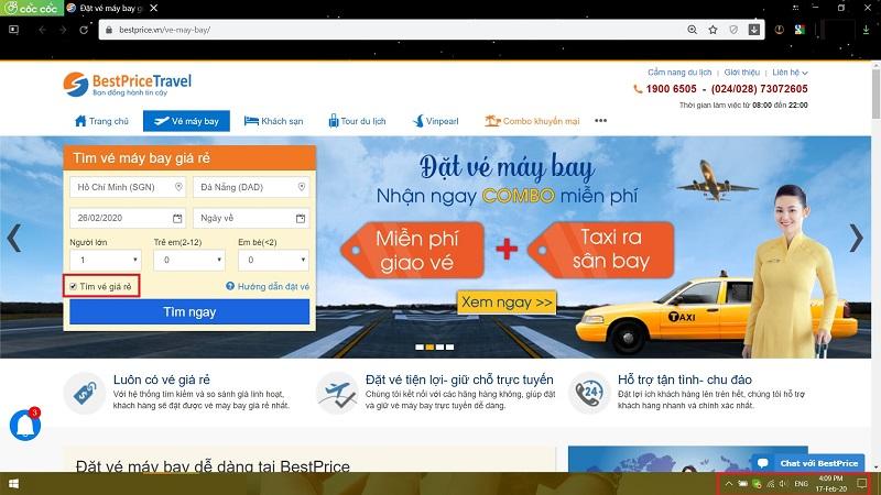Điền thông tin để săn vé máy bay Vietnam Airlines