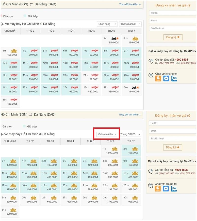 Vé máy bay giá rẻ nhất và vé rẻ nhất trong tháng của Vietnam Airlines tại bestprice.vn