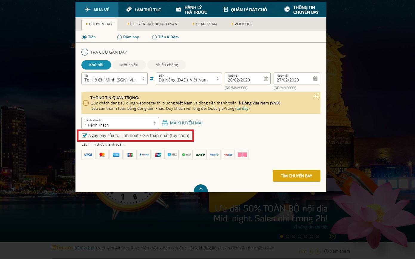 Điền thông tin để săn vé máy bay giá rẻ Vietnam Airlines