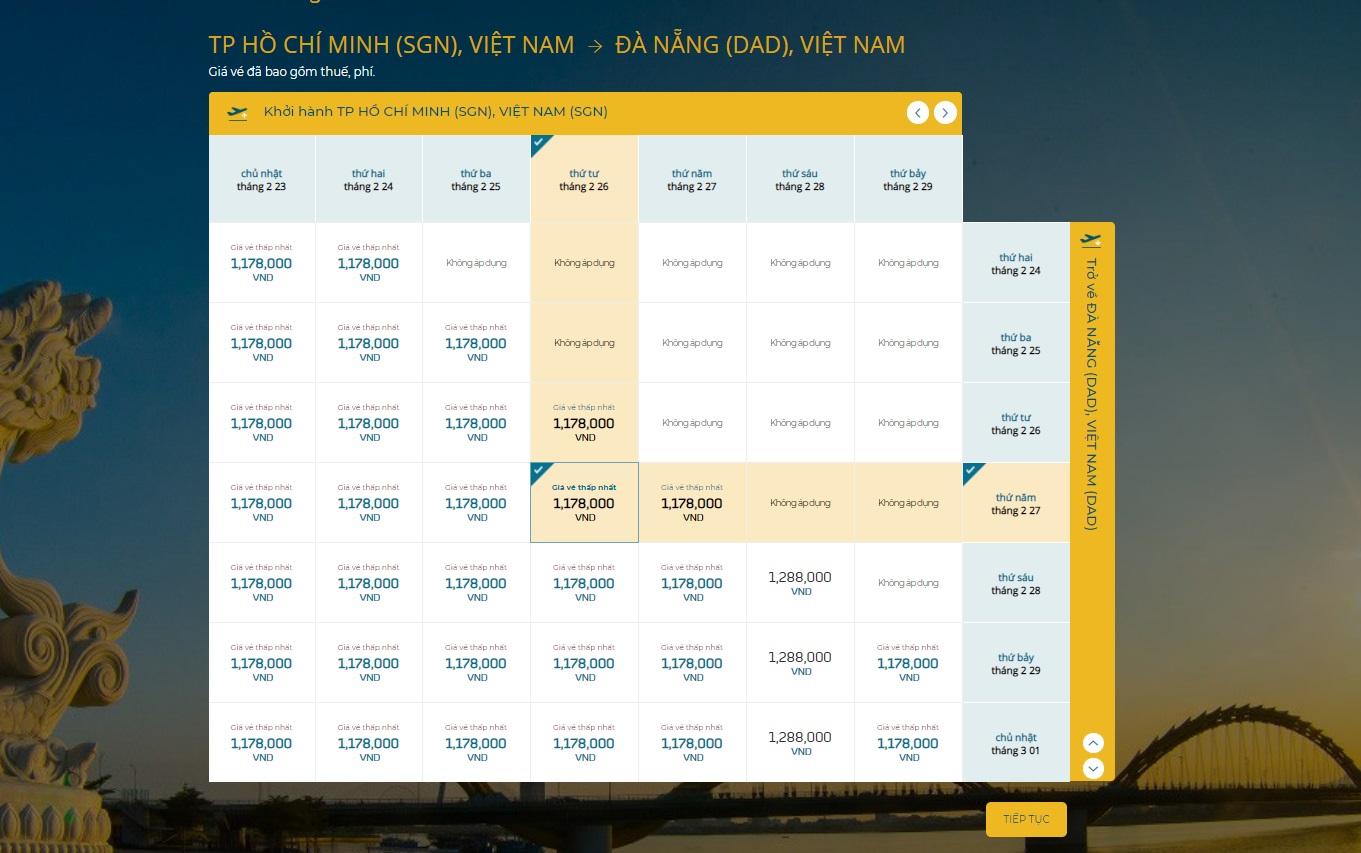 Vietnam Airlines hiển thị bảng vé giá rẻ đã bao gồm thuế, phí