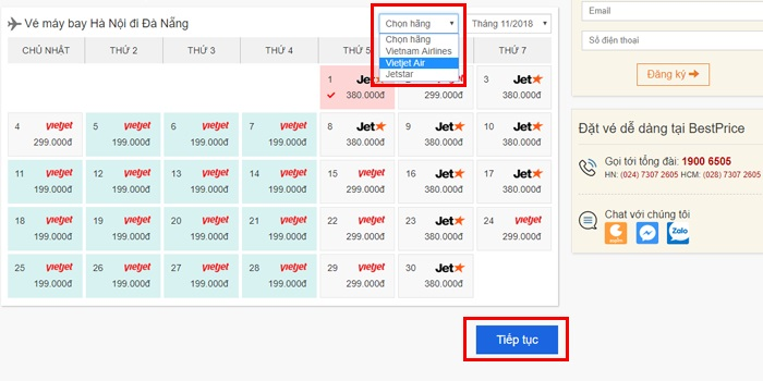 Màn hình website BestPrice sau khi lựa chọn tìm vé giá rẻ trong tháng