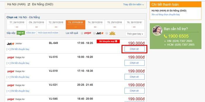 Giao diện trang web giá vé máy bay chi tiết