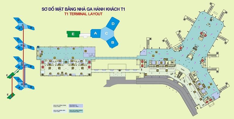 Sơ đồ các khu vực trong sân bay Nội Bài