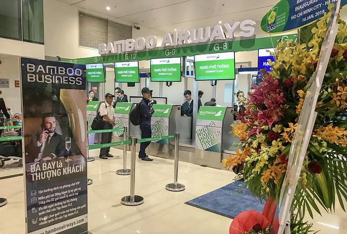 Quầy check in hãng Bamboo Airways tại sân bay