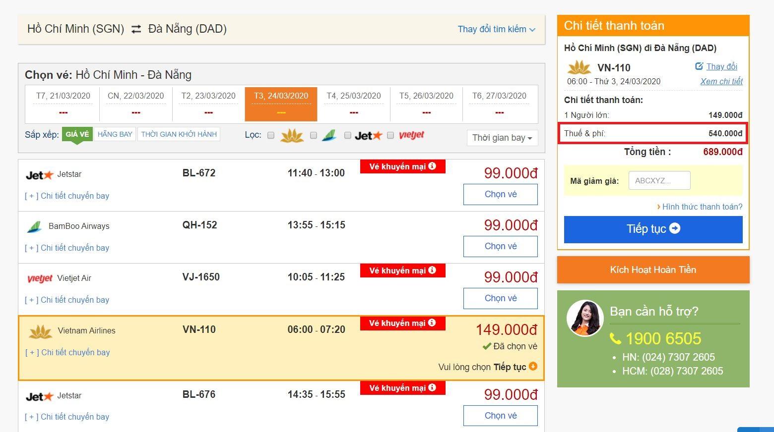 Thuế, phí khi đi máy bay của Vietnam Airlines