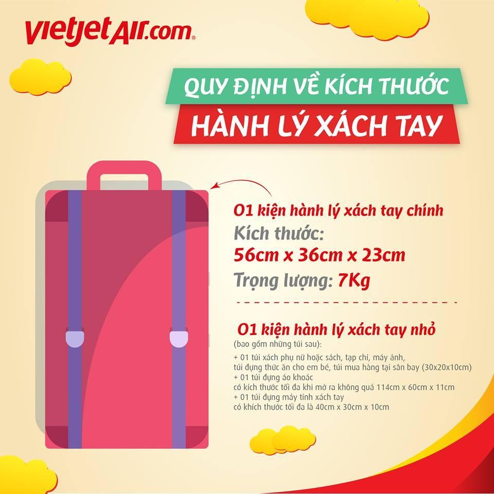 Quy định hành lý xách tay hãng Vietjet Air
