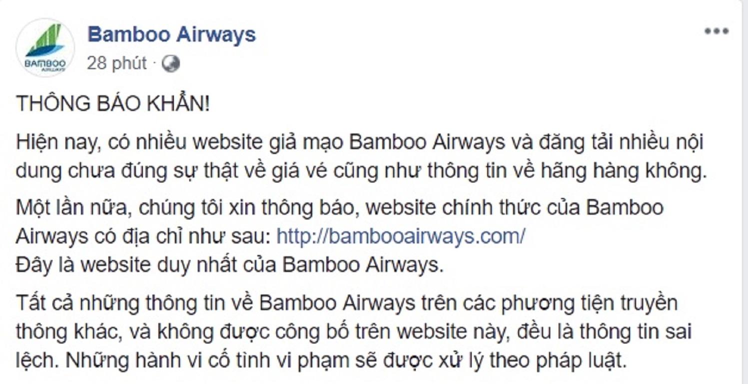 Thông báo chính thức của Bamboo về tình trạng website giả