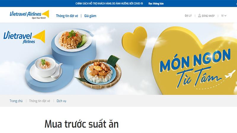 Hành khách có thể mua trước suất ăn qua website Vietravel Airlines