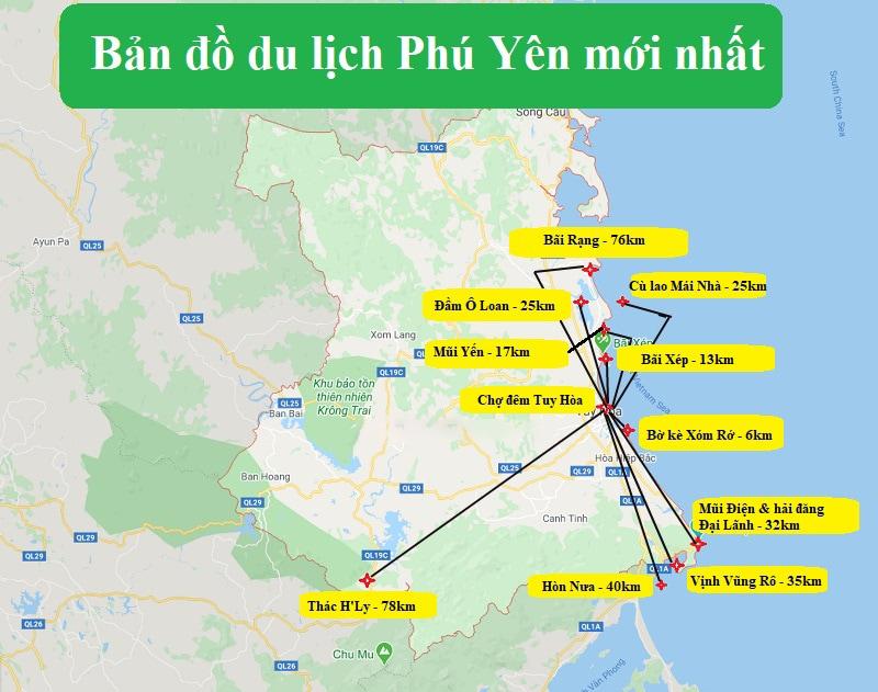 Mới nhất cập nhật bản đồ du lịch Phú Yên