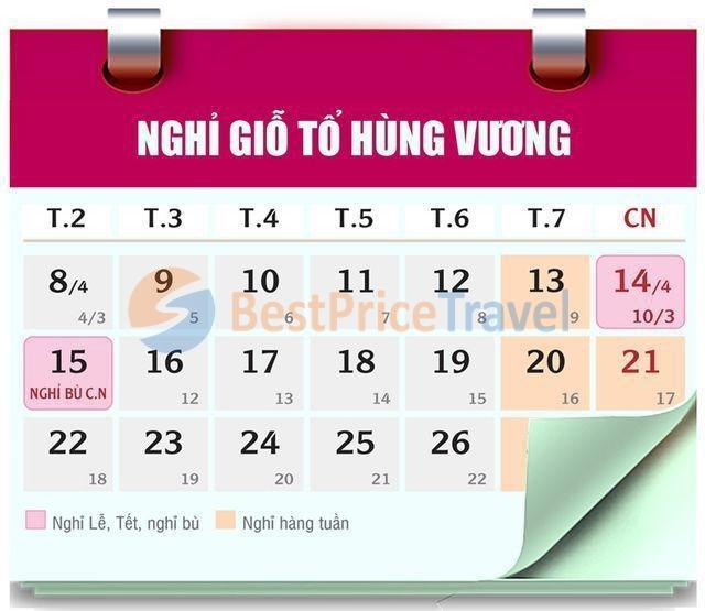 Nghỉ lễ dịp giỗ Tổ Hùng Vương 10/3 âm lịch