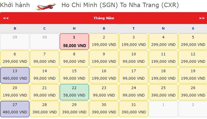 Giá vé máy bay Hồ Chí Minh- Nha Trang của Vietjet Air