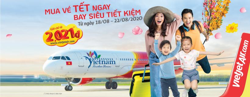 Vé máy bay Tết Tân Sửu 2021 Vietjet Air chỉ từ 2021 đồng