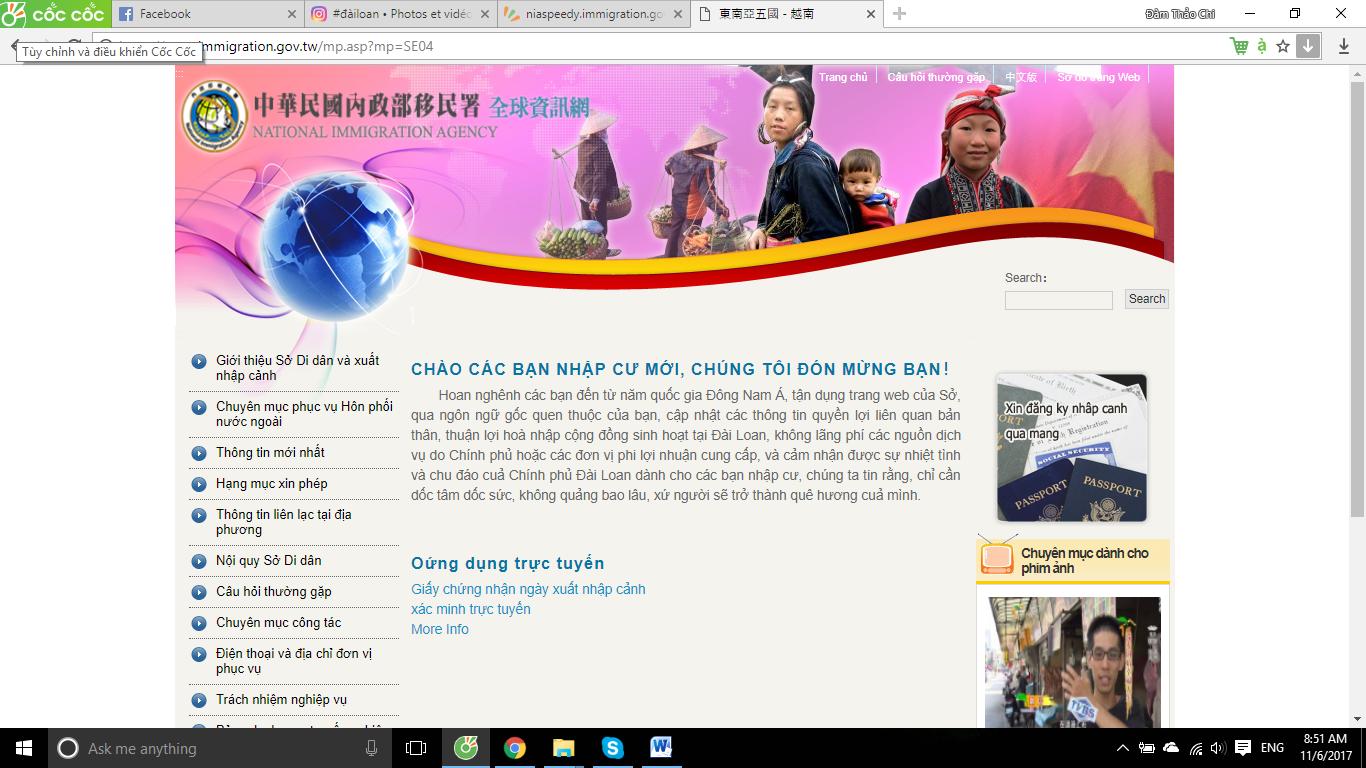 Chọn ngôn ngữ/quốc gia Việt Nam để có thể làm thủ tục dễ dàng