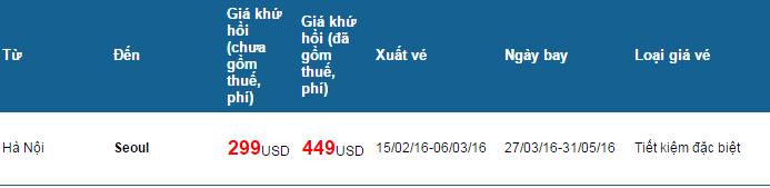 Giá vé khuyến mãi cho hành trình Hà Nội- Seoul