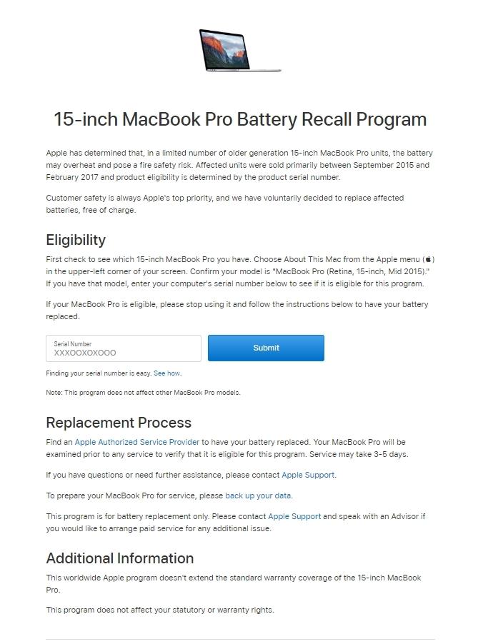 Lệnh thu hồi Macbook Pro 15 inch sản xuất và tiêu thụ từ 9/2015 - 2/2017 của Apple
