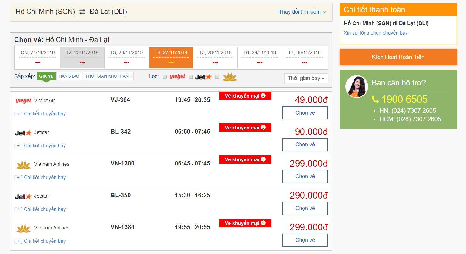 Khuyến mãi vé máy bay giá rẻ đi Đà Lạt chỉ từ 49k