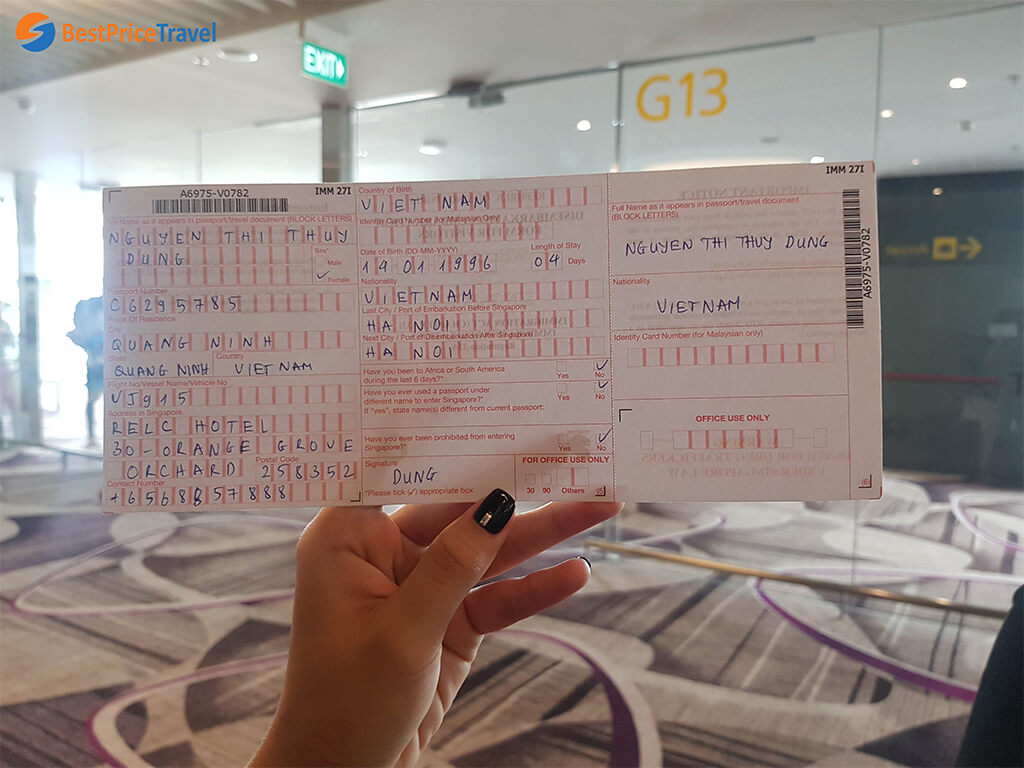 Giấy tờ xuất nhập cảnh vào Singapore