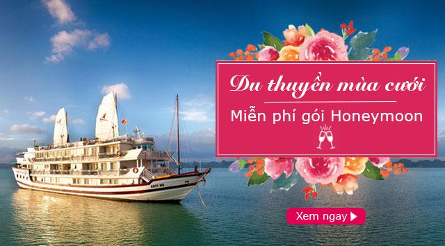 Chương trình miễn phí gói Honeymoon cho cặp đôi khi đặt du thuyền Hạ Long