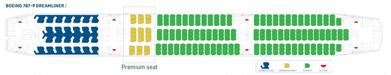Vị trí của hạng ghế Phổ thông đặc biệt trên máy bay Bamboo Airways
