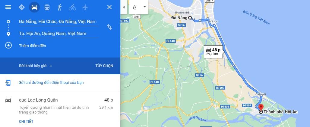 Khoảng cách từ Đà Nẵng tới Hội An