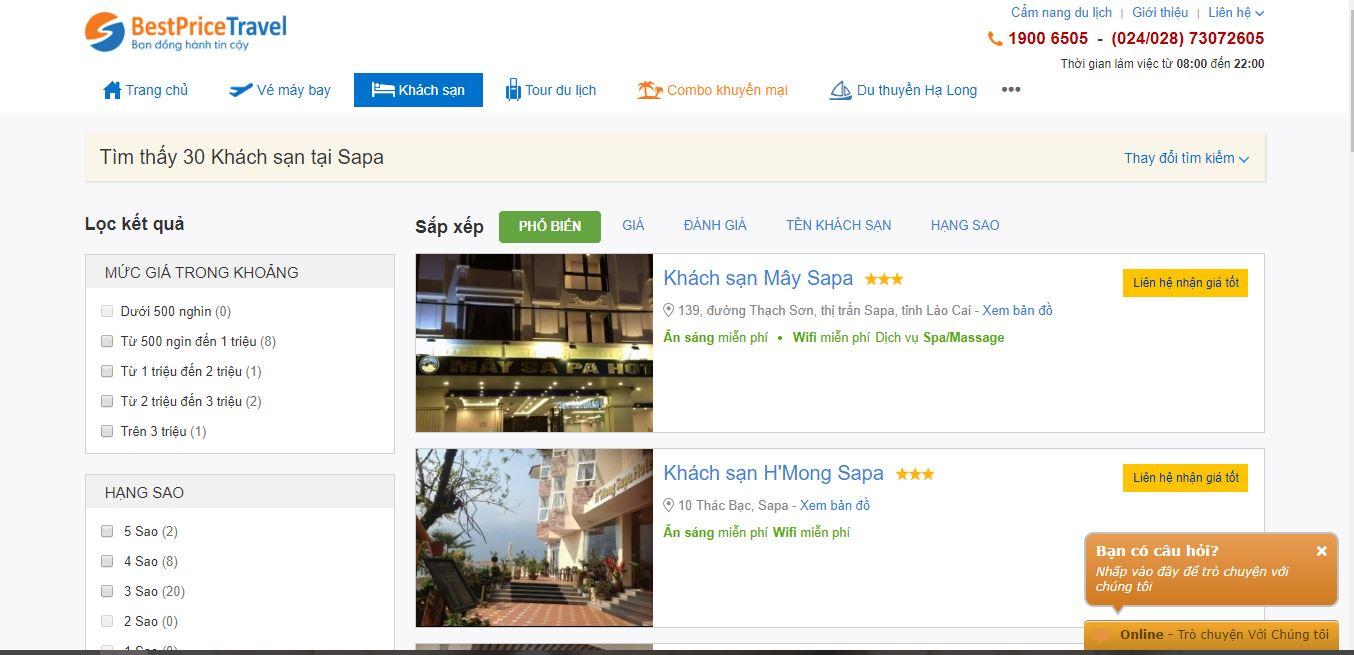 Danh sách khách sạn được tìm thấy