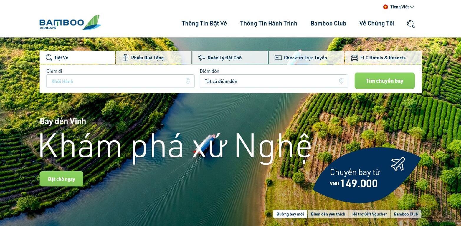 Hình ảnh trang chủ đặt vé của Bamboo Airways