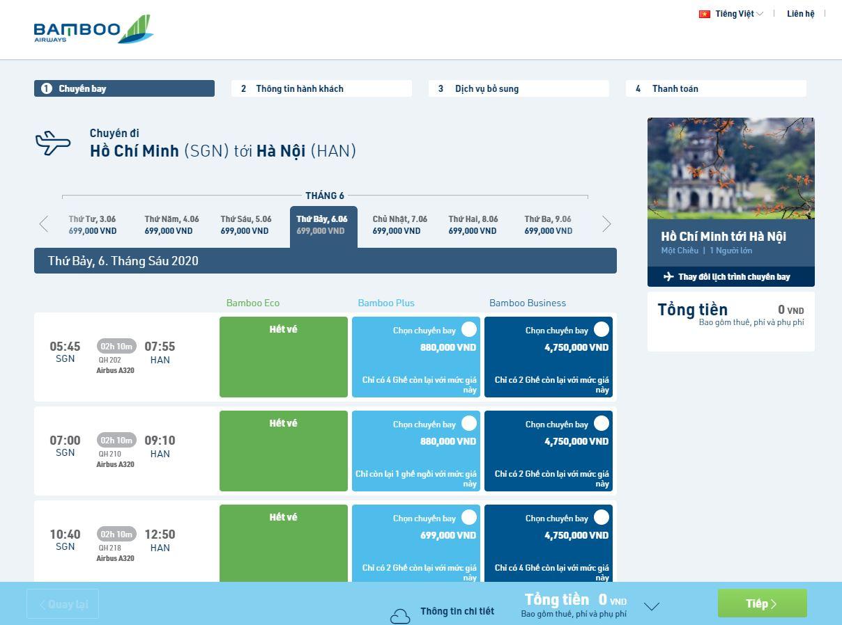 Các chặng và các hạng vé của Bamboo Airways