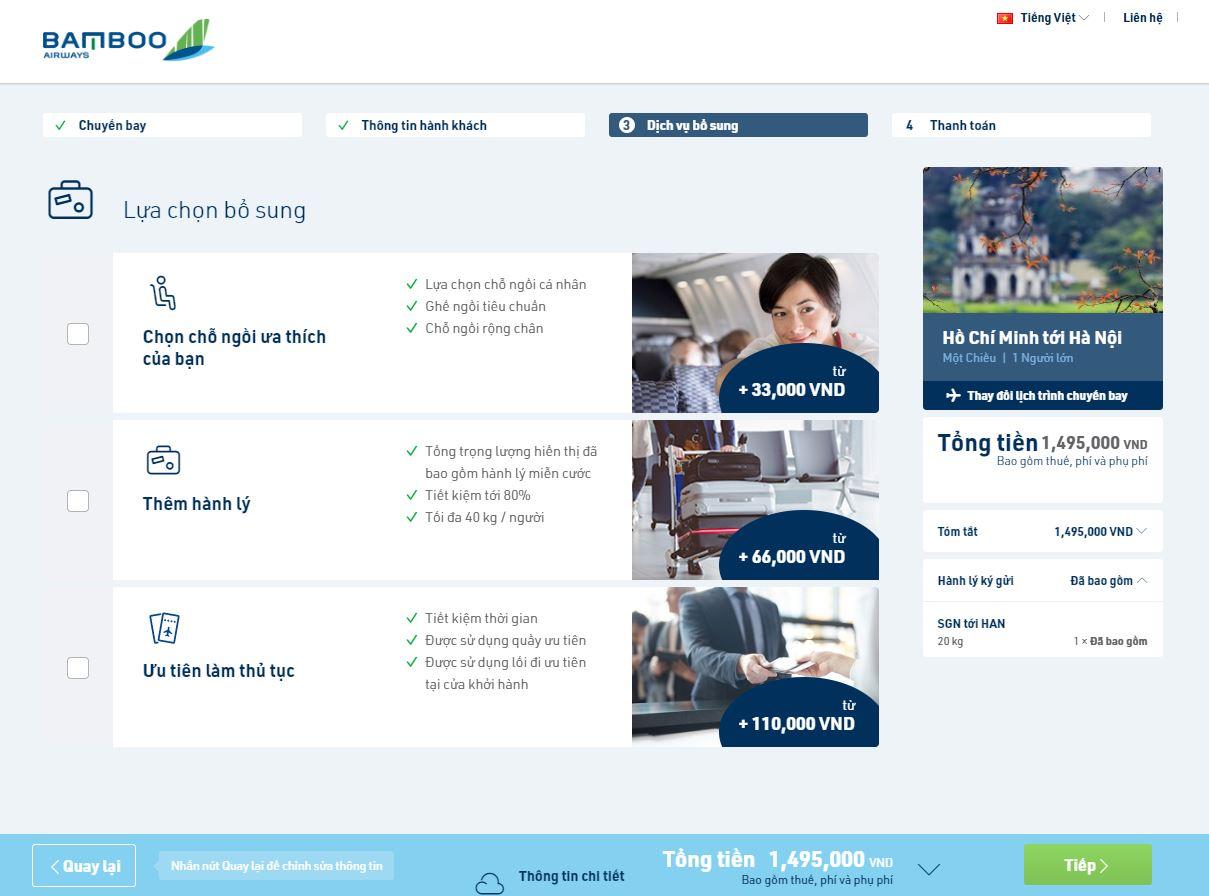 Mua dịch vụ khác trên chuyến bay của Bamboo Airways