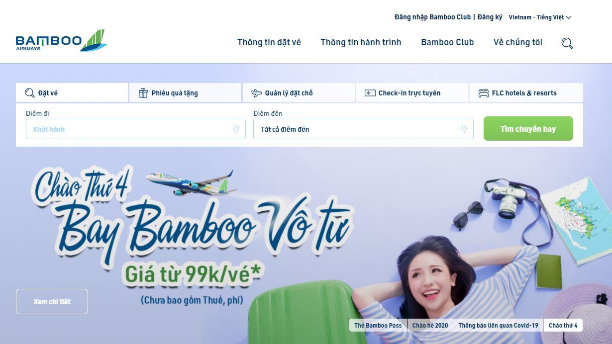 Trang chủ đặt vé của Bamboo Airways