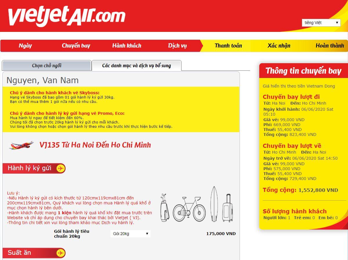 Đặt dịch vụ của Vietjet Air
