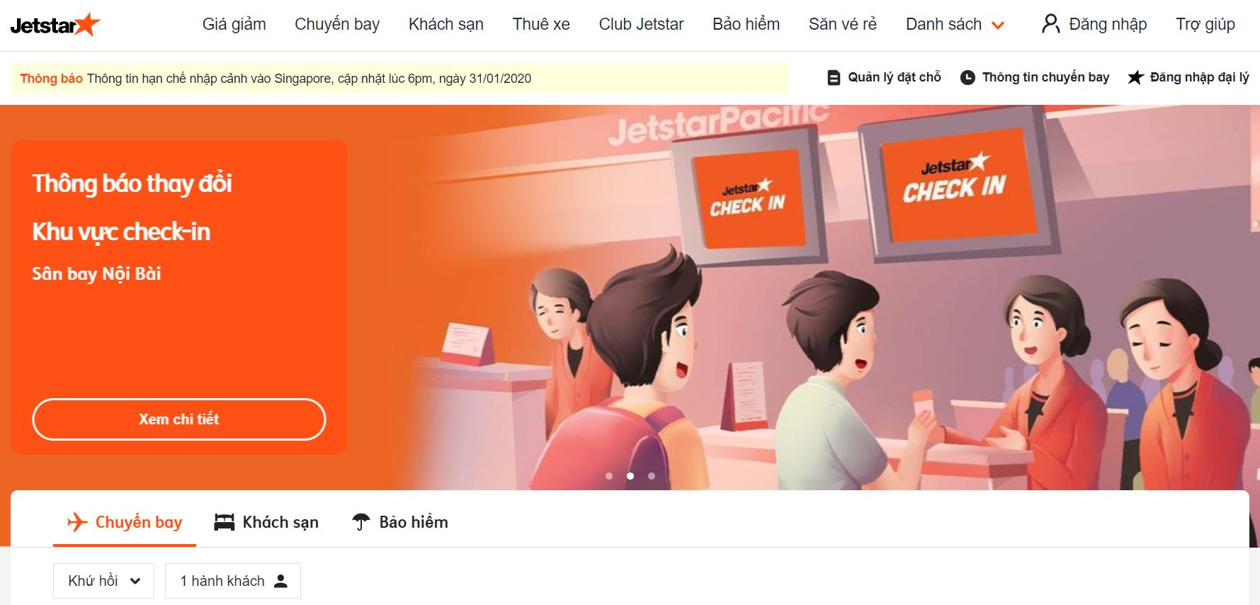 Điền thông tin chặng bay trên giao diện của Jetstar