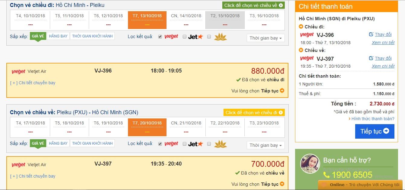Thông tin vé và giá vé theo yêu cầu mà bạn chọn