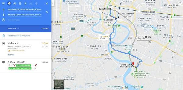 Khoáng cách từ Central World (trung tâm Bangkok) đến Vườn chim Hải Âu