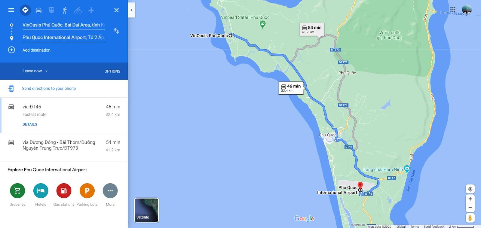 Đường di chuyển từ sân bay Phú Quốc đến VinOasis Phú Quốc