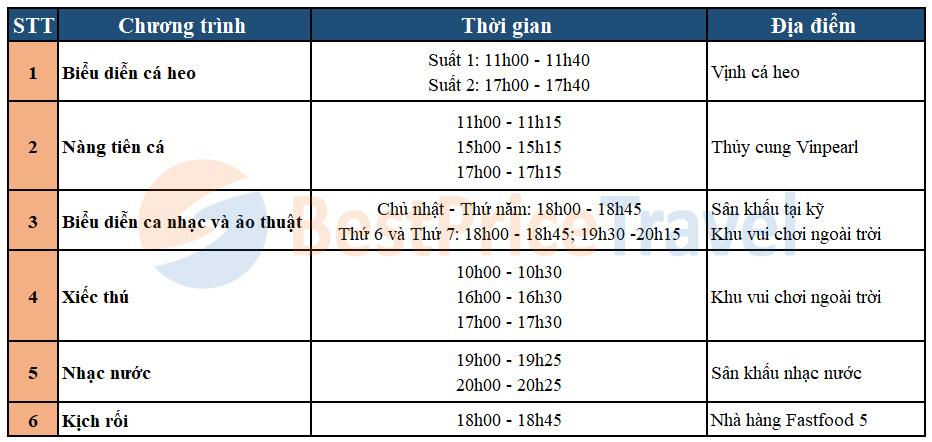 Lịch các chương trình biểu diễn tại Vinpearl Land Nha Trang