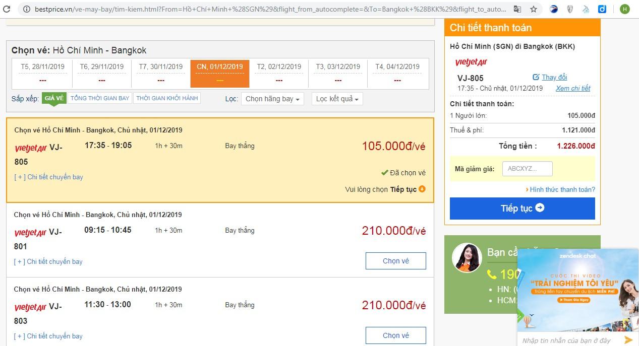 Giá vé máy bay tới Bangkok  vào tháng 12